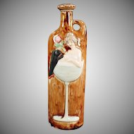 Vintage Schafer and Vater German Flask - Girl in a Wine Glass Nip