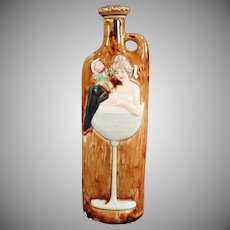 Vintage Schafer and Vater Flask - Girl in a Wine Glass - German Whiskey Nip