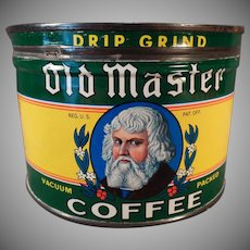 Vintage 1# Coffee Tin – Euclid Co. Old Master Key Wind Coffee Can