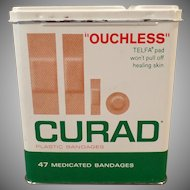Vintage Band-aid Tin - Curad Ouchless Bandages Tin with Assorted Sizes Shown