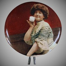 Vintage Celluloid Mirror - Handheld Mirror with Woman Sipping Tea