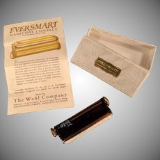 Vintage Compact - Eversmart Manicure Compact with Original Box - Black and Gold