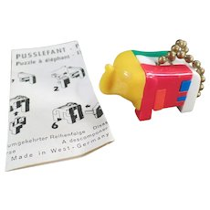 Vintage Puzzle Key Chain - Pussy Puzzlephant Elephant with Instructions