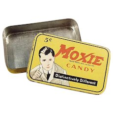 Vintage Moxie Candy Tin - Moxie with Horsemobile Advertising