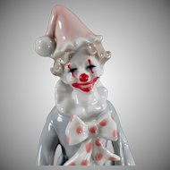 Vintage Clown Music Box - Old Porcelain Figurine - Send in the Clowns - Made in Japan