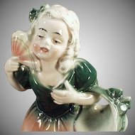 Vintage Hertwig Figurine - Pretty Young Girl with Fan - Made in Germany