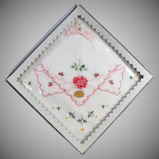 Vintage Hankie Set with Embroidered Flowers - Original Old Packaging