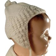 Vintage Crocheted Baby Bonnet - Cream Colored - Right Size for Old Baby Doll