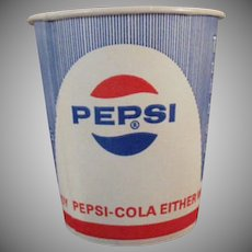 Five Vintage Pepsi Paper Cups - 5 Old Unused Sweetheart Cups with Diet Pepsi Logo