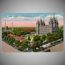 Vintage Postcard - Mormon Temple in Salt Lake City - Old Postcard