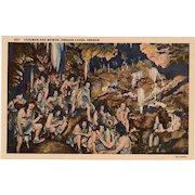 Vintage Postcard - Oregon Caves with Cavemen and Women - Old Souvenir Postcard