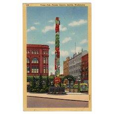 Vintage Postcard - Seattle's Totem Pole in Pioneer Square - Colorful Old Souvenir Postcard