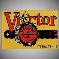 Vintage Tool Tin - Victor Hack Saws Hand Blades - 1937