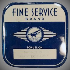 Vintage Typewriter Ribbon Tin - Fine Service Brand with Airplane