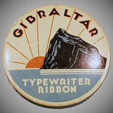 Vintage Gibraltar Typewriter Ribbon Tin - Old Ribbon Tin with the Rock of Gibraltar