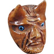 Vintage Wood Smoking Pipe - Carved Briar - Devil Face with Glass Eyes