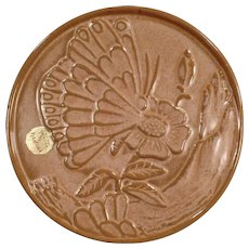Vintage Frankoma Hot Plate - Old Pottery Trivet - Butterfly and Flower with Original Label - Brown Glaze