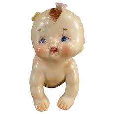 Vintage Porcelain Figurine - Old Ceramic Crawling Kewpie-Like Baby