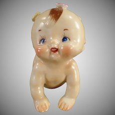 Vintage Porcelain Figurine - Old Ceramic Crawling Kewpie-Like Baby