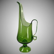 Old Mid Century Green Glass Ewer - Classic Vintage Form - Nice Decorative Accent