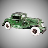 Vintage Cast Iron Car - Large Coupe with Rumble Seat - circa 1930