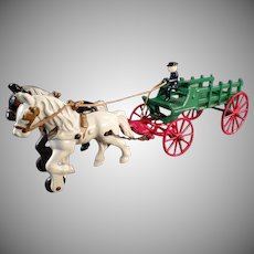Vintage Cast Iron Toy - Kenton Horse Drawn Stake Wagon - Original Paint