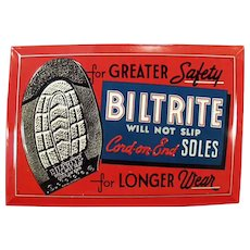 Vintage Self Framed Tin Advertising Sign - Biltrite Soles for Shoes