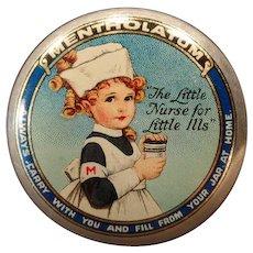 Vintage Mentholatum Ointment Tin - Old Medicine Tin - Colorful Little Girl Nurse