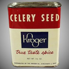 Vintage Spice Tin -  Old Kroger Celery Seed Tin with Dressing Recipe
