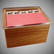 Vintage Oak Index File Box with Acrylic Lid - Old Scotty Dog Recipe Cards
