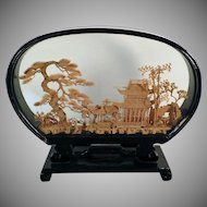Vintage Oriental Cork Carving - Carved Cork Scene with Architectural Theme in Lacquered Frame