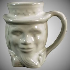 Vintage Frankoma Pottery Coffee Cup - Old Uncle Sam Toby Mug - White Glaze