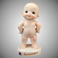 Vintage Porcelain Birthday Figure – Old September Kewpie Baby Figurine