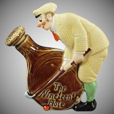 Vintage Schafer and Vater Flask - 19th Hole with Dapper Golfer - Porcelain Nip