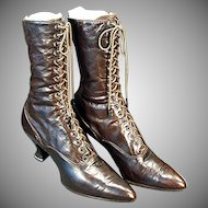 Ladies Vintage High Top Leather Shoes - Old French Heeled Lace Shoes