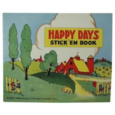 Child's Vintage Book of Stickers - Happy Days - Old Platt & Munk Book