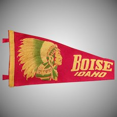 Vintage Felt Souvenir Pennant – Old Boise Idaho Pennant with Indian Chief