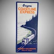 Vintage Map - Oregon Coastline Express Map - 1955 - Old Rand McNally Map