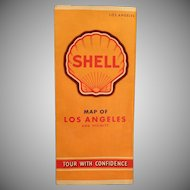 Vintage Los Angeles Road Map – 1940's – Old Shell Gasoline Advertising