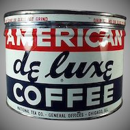 Vintage Key Wind Coffee Can - Old One Pound American DeLuxe Advertising Tin
