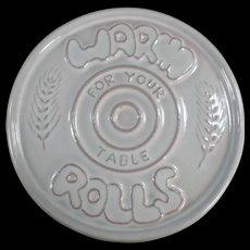 Vintage Frankoma Pottery - Old Bread Warmer Tile - Warm Rolls - White Glaze