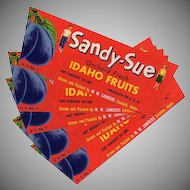 Vintage Fruit Crate Labels - Five Old Labels from Emmett Idaho - Sandy-Sue
