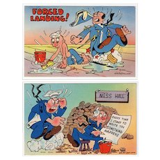 Two Vintage Postcards - Humorous Military Postcards - Colorful and Never Used
