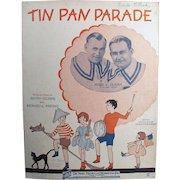 Vintage Sheet Music - Tin Pan Parade with Ukulele Arrangement - Children on Cover