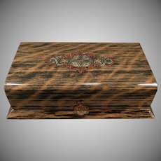 Vintage Celluloid Dresser Box – Wood Grain Celluloid – Masculine Vanity Case