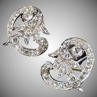 Vintage Costume Earrings - Fancy Old Rhinestone Clip-On Earrings