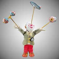 Vintage Wind Up Toy – Juggling Clown – Tin and Composition – Japanese W-up