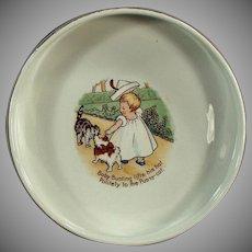 Vintage Baby Plate - Nursery Rhyme Feeding Dish - Baby Bunting - Old Homer Laughlin