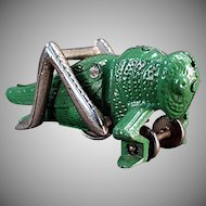 Vintage Hubley Cast Iron - Old Grasshopper Pull Toy - Beautiful Original Paint