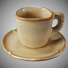 Vintage Frankoma Pottery - Plainsman Demitasse Cup and Saucer- Ada Clay